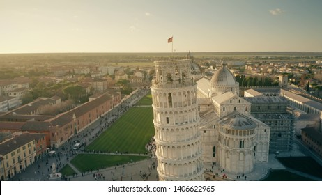 Aerial view of famous Leaning Tower of Pisa on Piazza dei Miracoli square. Italy