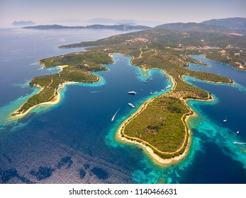 Aerial view of famous Meganisi island near Lefkada island in Greece. Drone photography.
