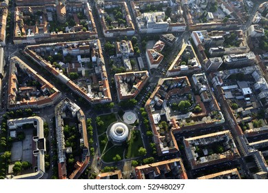 Aerial view of the famous Mestrovic Pavillion and it's surroundings in Zagreb, the capital of Croatia.