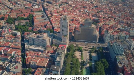 Aerial view of famous Plaza de Espana square in Madrid, Spain