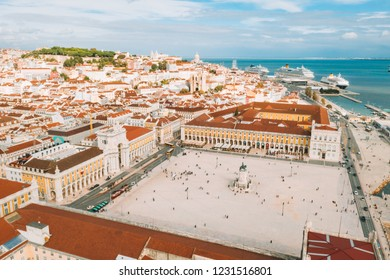 Aerial view of the famous Praca do Comercio (Commerce Square) - one of the main landmarks in Lisbon . Beautiful Portuguese architecture