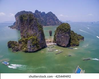 Aerial view of famous rocky James Bond Island. Phang nga bay, Phuket, Thailand.