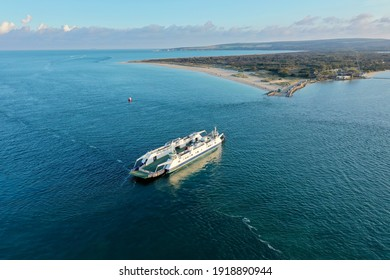 An aerial view of the famous Sandbanks Chain Ferry in action