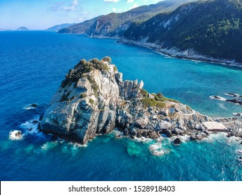 Aerial view of the famous small church Agios Ioannis in Skopelos where scenes of Mamma Mia were filmed. Its located in the region of Kastri, about 7km east of Glossa, northern Skopelos Sporades Greece