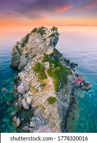 Aerial view of the famous small church Agios Ioannis in Skopelos. Its located in the region of Kastri, about 7km east of Glossa, northern Skopelos Sporades Greece