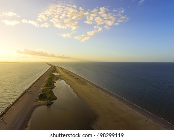 Aerial view famous Texas City Dike, a levee that projects nearly 5miles south-east into mouth of Galveston Bay. It was designed to reduce the impact of sediment accumulation along the lower Bay
