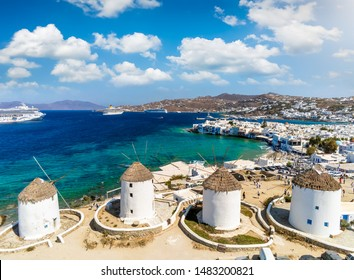 Aerial view of the famous windmills above Mykonos town, Cyclades, Greece
