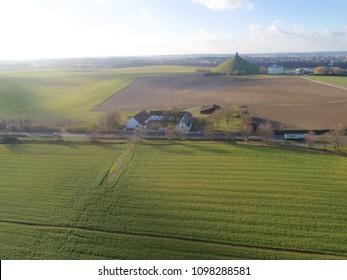 Aerial view farm field, Lion's Mound, Battle field, Napoleon, Waterloo, Belgium, green and sky, season