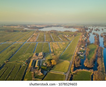 Aerial view of farming area with canal in the countryside of Vinkeveen, the Netherlands.