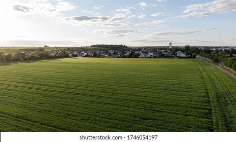 Aerial view of a farmland during golden hour