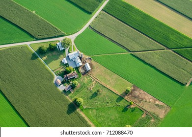 An aerial view of farmland in Lancaster County, Pennsylvania.