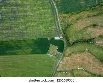 Aerial view of farmland near Sete Cidades in Sao Miguel, Azores.