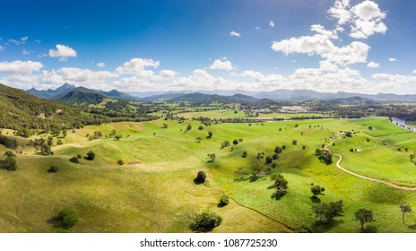 Aerial view of farmland near the town of Murwillumbah and Wollumbin National Park (Mt Warning) in rural New South Wales, Australia