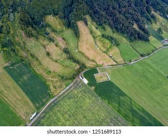 Aerial view of farmland in Sete Cidades in Sao Miguel, Azores.