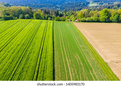 aerial view of farmland in the Swabian forest in Germany