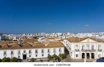 Aerial view of Faro, Portugal clear view of harbor and rooftops