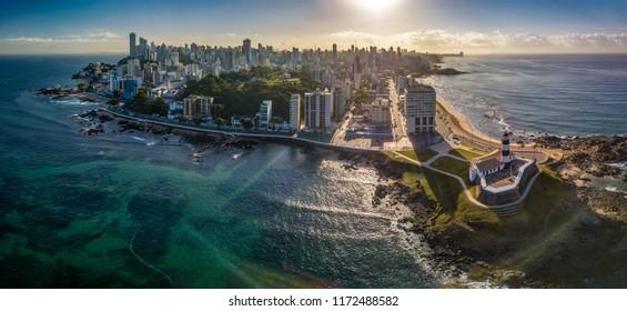 Aerial View of Farol da Barra in Salvador, Bahia, Brazil