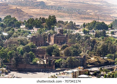 Aerial view at the Fasilides castle in Gondar in Ethiopia