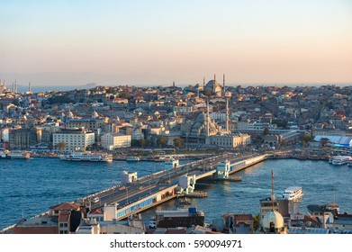 Aerial view of Fatih historic district and Galata Bridge over Golden Horn bay. Old city cityscape, skyline. Istanbul, Turkey