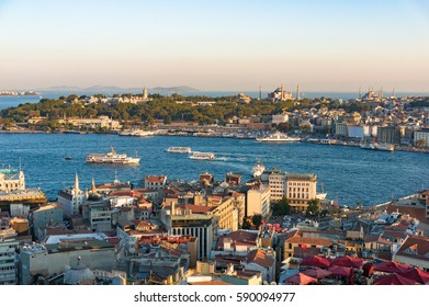 Aerial view of Fatih historic district with Blue Mosque and Golden Horn bay. Istanbul, Turkey