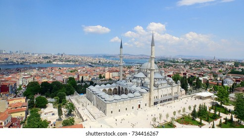 Aerial view of Fatih Mosque and Istanbul