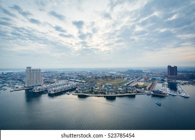 Aerial view of Federal Hill and the Inner Harbor of Baltimore, Maryland.