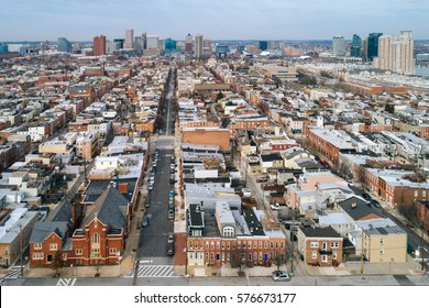 Aerial view of the Federal Hill neighborhood, in Baltimore, Maryland.