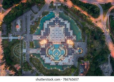 Aerial view of Federal Territory Mosque near Kuala Lumpur, Malaysia
