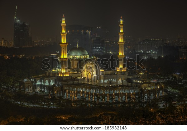 Aerial view of Federal Territory Mosque in night. Federal Territory Mosque is a major mosque in Kuala Lumpur, Malaysia