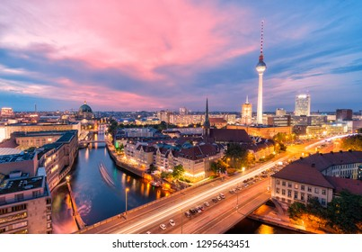 Aerial view of Fernsehturm (TV Tower) Berlin, Germany during a sunset