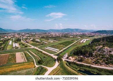 Aerial view of fertile land and crops in southern Croatia in the Neretva Valley