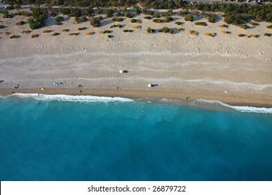 Aerial view of the Fethiye beach in death sea, Turkey