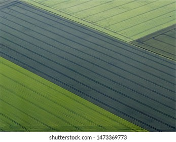 aerial view of fields at Amblainville in the department of Oise in France
