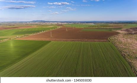 Aerial view of fields in Bulgaria