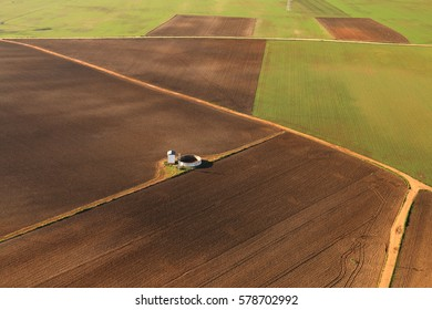 Aerial view of fields and farmland taken from a hot air balloon