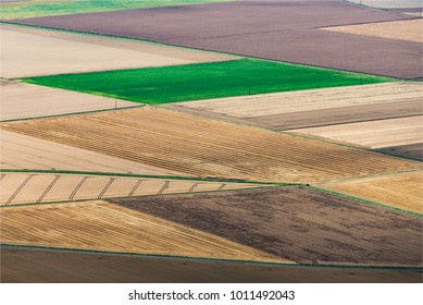 aerial view of fields at Grandchamp in the Yvelines in France