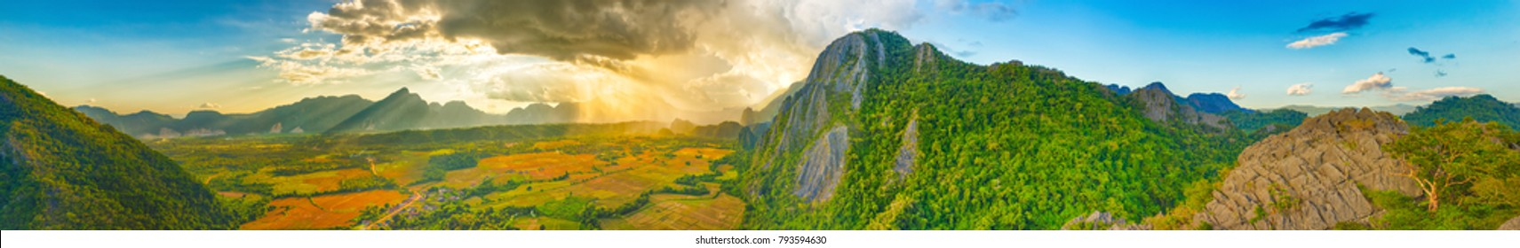 Aerial view of the fields and mountain. Beautiful landscape panorama. Vang Vieng. Laos.