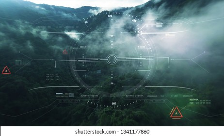 Aerial view from the fighter plane's cockpit flying over the low cloud cover mountain scape with head up display acquire targets and enemies location hidden in the dense mountain forest