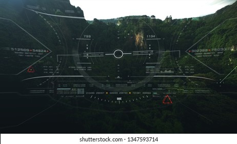 Aerial view from the fighter plane's cockpit flying in the lime stone mountain canyon with head up display acquire targets and enemies location hidden in the dense mountain forest