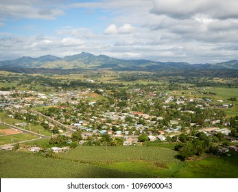Aerial View of Fiji Tropical Island Town of Nadi in South Pacific