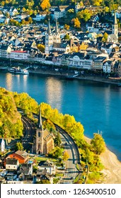 Aerial view of Filsen and Boppard towns with the Rhine river in Germany
