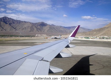 Aerial view of final approach to Leh and airstrip landing Ladakh , India
