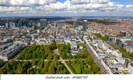 Aerial View Financial District Of Brussels Cityscape In Belgium