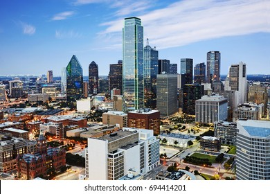 Aerial view of the financial hart of Dallas Texas at dusk