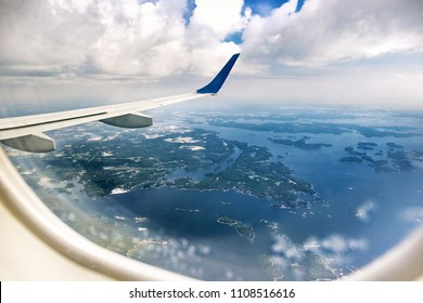 Aerial view of Finland from airplane