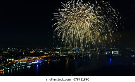 Aerial View of Fireworks