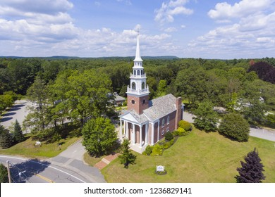 Aerial view of First Parish Church on Framingham Centre Common Historic District in Framingham, Massachusetts, USA.
