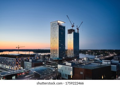 Aerial view of first skyscrapers in Finland in Kalasatama district. Tallest buildings in Finland.