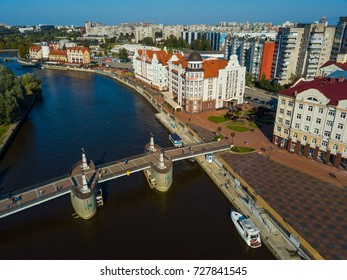 Aerial view of fish village district in Kaliningrad, Russia