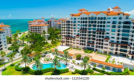 Aerial view of Fisher Island. South Beach, Miami Beach, Florida, USA.
